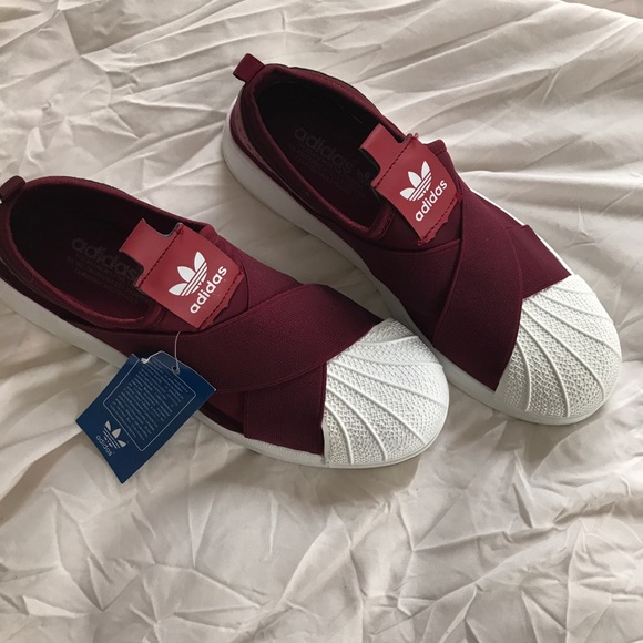 adidas superstar slip on maroon